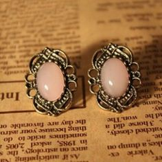Vintage Royal Inlaying Opal Earrings for Female