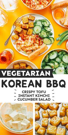 Everything you need for a full course vegan Korean BBQ, including crispy BBQ tofu, instant kimchi, cucumber salad, and spring rolls! It's a flavor packed vegan dinner idea that's healthy, filling, and perfect for the whole family (even the non-vegetarians!) In partnership with @eatluckyfoods Vegetarian Dinners, Vegetarian Recipes Easy, Vegan Dinner Recipes, Asian Recipes, Healthy Recipes, Ethnic Recipes, Healthy Food, Simple Recipes, Summer Recipes