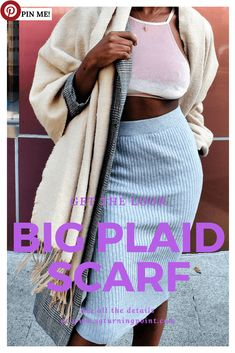 turning point, big large plaid scarf, black girl, afro hair, swiss blogger, stéphanie guillaume, ootd, chic outfit, dope outfit, nightout outfit, bralette, black ankle boots, long grey midi skirt, Prince of Wales checked COAT, wood moon earring, swiss fashion blogs