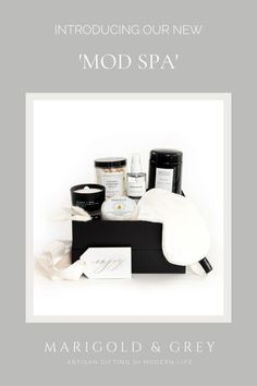 Know someone in need of a spa day but they're not a fan of the pinks and pastels that so often accompany spa gifts? Well, you've come to the right place! Our signature 'Mod Spa' gift box has all the relaxation items one could dream of except in black and white tones for a sleek and sophisticated self-care experience!