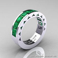Mens Modern 14K White Gold Princess Emerald Channel by artmasters, $1599.00