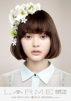 (Tina Tamashiro) chin length bob w/ bangs - want bangs slightly higher above eyebrows Bob Hairstyles With Bangs, Short Hair With Bangs, Cool Haircuts, Diy Hairstyles, Fringe Bob Haircut, Natural Hair Styles, Short Hair Styles, Dream Hair, Flowers In Hair