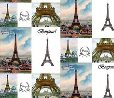 Eiffel Tower Paris collage fabric by 13moons_design on Spoonflower - custom fabric