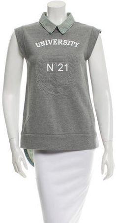 No. 21 Denim-Trimmed Sleeveless Sweatshirt