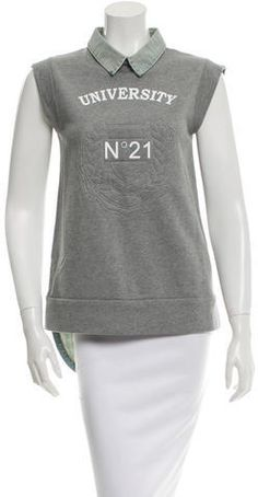 No. 21 Denim-Trimmed Sleeveless Sweatshirt
