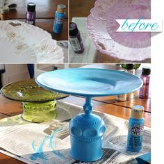 Make your own colorful and creative cake stands with found plates and wine glasses