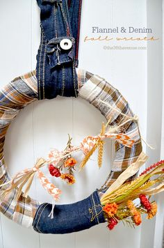 I simply adore this fall wreath made from upcycled denim jeans and a flannel shirt. So cute!