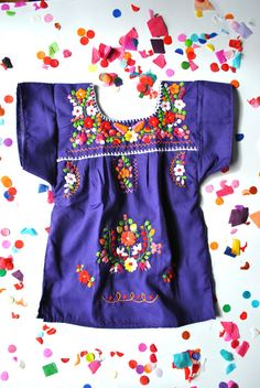 Purple Mexican Infant Toddler Embroidered Dress by keesandme,