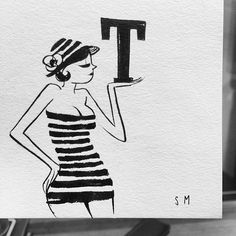 to TEE or not to TEE, that is the Q. — #illustration #brushpen #brush #ink on #paper #bw