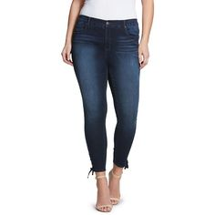 Plus Size Gloria Vanderbilt Alexandra Lace-Up Skinny Ankle Jeans ($30) ❤ liked on Polyvore featuring jeans, light blue, plus size, super skinny jeans, slim skinny jeans, plus size stretch jeans, skinny ankle jeans and ankle length skinny jeans