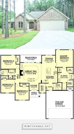 I would reverse the plan -- House Plan - 4 Beds 2 Baths 1798 Sq/Ft Plan - created via… New House Plans, Dream House Plans, Small House Plans, House Floor Plans, My Dream Home, 4 Bedroom House Plans, Country House Plans, The Plan, How To Plan