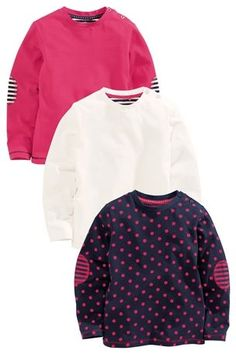 Three Pack Navy, Ecru And Pink Tops (3mths-6yrs)