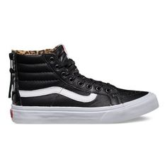 The Leather Sk8-Hi Slim Zip, a slimmed down version of its original, is lace-up high top with a durable leather upper, zipper entry at heel, leopard print lining, a supportive and padded ankle and Vans vulcanized signature Waffle Outsole.