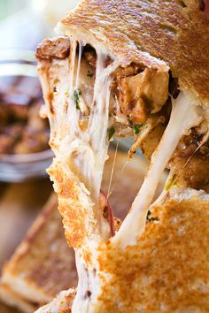 """BBQ Chicken """"Pizza"""" Grilled Cheese 