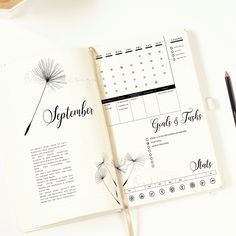 PRINTABLE Dandelion Monthly Log / Bullet Journal Insert / Goals & Task List / Social Stats / Functional Stickers