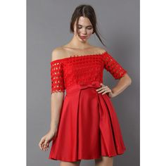 Chicwish Drops of Flair Red Dress ($68) ❤ liked on Polyvore featuring dresses, square neckline dress, pleated dress, red embellished dress, embellished dress and short dresses