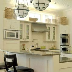 Located high on the wall, clerestory windows allow natural light into a space without compromising privacy. See a variety of designs here. Decorating Above Kitchen Cabinets, Kitchen Wall Cabinets, Above Cabinets, Kitchen Windows, Diy Kitchen, Kitchen Decor, Kitchen Design, Kitchen Ideas, Kitchen Interior