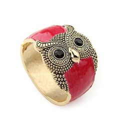 Owl Red Crystal Vintage Bangle  #SheInside