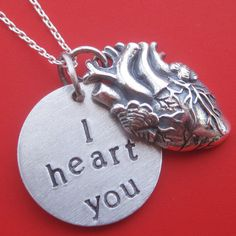 Anatomical I Heart You Necklace by sudlow on Etsy Heart Art, My Heart, Heart Jewelry, Unique Jewelry, Memento, Animal Print Pants, Heart Month, Heart Decorations, Diamond Are A Girls Best Friend