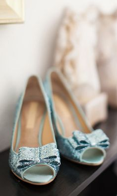 Mint glitter pumps