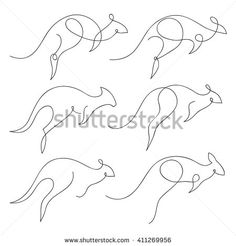 One line kangaroo design silhouette set. Hand drawn minimalism style vector illustration