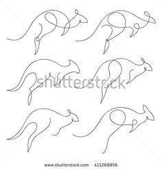 One line kangaroo design silhouette set. Hand drawn minimalism style vector illustration
