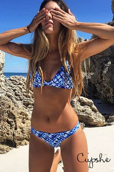 Live life on the beach, live life by your own feelings. Cupshe Deep Water Ocean Bikini Set  is filled with all awesome elements you want. Pick it up for beach life.
