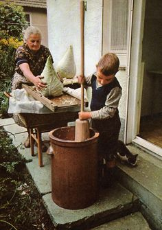 Sauerkraut making in Germany (fascinating cabbage heads - have never seen any like that)