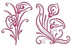 Calla Lilies Outline Set, 11 Designs - 3 Sizes! | Floral - Flowers | Machine Embroidery Designs | SWAKembroidery.com