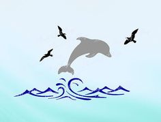 Dolphin SVG, Waves Svg, Animal Svg, Wall Design Svg, Sea Life Cut File, Dolphin DXF, Birds Svg, Dolphin Waves Silhouette, Digital File ***PLEASE NOTE*** This is a DIGITAL item for INSTANT DOWNLOAD! No PHYSICAL ITEM will be mailed! Only for personal use! Use for Silhouette and other
