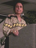 Winona LaDuke (born 1959) (Anishinaabe) is an American Indian activist, environmentalist, economist, and writer. In 1996 and 2000, she ran for vice president as the nominee of the Green Party of the United States, on a ticket headed by Ralph Nader.