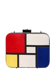 Designer Clothes, Shoes & Bags for Women Leather Clutch, Leather Purses, Leather Handbags, Piet Mondrian, Mondrian Dress, Bauhaus, Theo Van Doesburg, Unique Purses, Hermes Bags