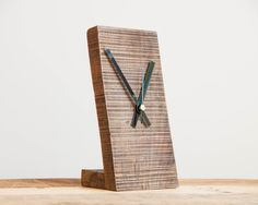 Small Wooden Clock Minimal Desk Clock Modern by PalletablesUK