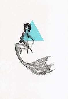 Triangle Mermaid Screen Print. £12.00, via Etsy.