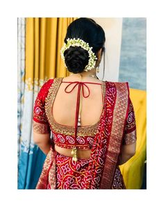 Image may contain: one or more people and closeup Blouse Back Neck Designs, Fancy Blouse Designs, Bridal Hair Buns, Saree Draping Styles, Nauvari Saree, Bridal Hair Inspiration, Bandhani Saree, Half Saree Designs, Indian Wedding Hairstyles