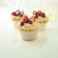 Angel Lush Cupcakes Recipe (Feel good about serving these low-fat cupcakes to friends and family at your next gathering. Carb Choices: 1)  - Delish.com