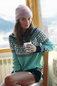 winter. sweater beanie love