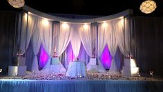 This was a stunning reception stage for Sharma Khosla Sharma Khosla Suresh & Jai's reception Wedding Draping, Wedding Linens, Wedding Ceremony Decorations, Flower Curtain, Floral Curtains, Wedding Dress Accessories, Wedding Pinterest, Wedding Goals, Wedding Stationary