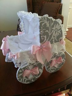 The Madison Pink And Grey Baby Carriage / by TheCarriageShoppe, $45.00