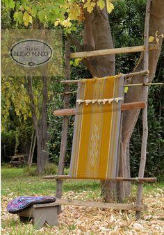 Telar Mapuche Macrame, Outdoor Structures, Garden, Weaving, Fabrics, Tejidos, Lawn And Garden, Gardens, Outdoor