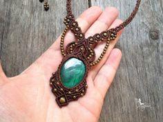 Micro macrame necklace Custom order stone boho jewelry micro-macrame necklace tribal