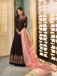 Buy Beautiful Brown Colored Party Wear Embroidered Satin-Georgette Anarkali Suit at Rs. Get latest Partywear suit for womens at Peachmode. Lehenga Gown, Anarkali Dress, Anarkali Suits, Punjabi Suits, Abaya Fashion, Indian Fashion, Icon Fashion, Ethnic Fashion, Indian Dresses