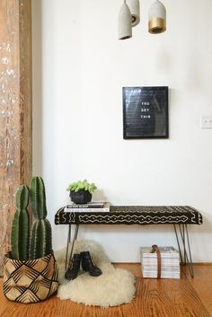 """homepolish: """"A simple easy and beautiful upholstered bench DIY project! Check it out on Homepolish! African Interior, African Home Decor, Diy Furniture Upgrade, Home Interior, Interior Design, Interior Styling, Interior Decorating, Making A Bench, Decor Inspiration"""