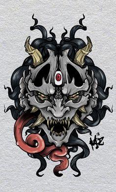 Hanya mask by monmoztattoo - Oni Tattoo, Samurai Mask Tattoo, Hanya Tattoo, Kunst Tattoos, Tattoo Drawings, Body Art Tattoos, Hannya Maske, Samurai Artwork, Japanese Oni