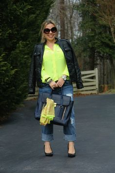 Neon Outfit with Leather Jacket