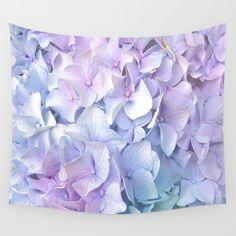 Soft Pastel Hydrangea Wall Tapestry