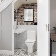 Cedarwood is a great space saving bathroom suite. It has a curved design so it is ideal for smaller bathrooms, cloakrooms and en-suites⠀ -⠀ -⠀ -⠀ Bathroom Under Stairs, Attic Bathroom, Bathroom Toilets, Bathroom Interior, Toilet Under Stairs, Understairs Bathroom, Down Stairs Toilet Ideas, Compact Bathroom, Basement Bathroom