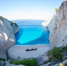 Navagio shipwreck in Zakynthos Greece. Only a 10 minute hike to get this view. Most people climb to the top but you can see the actual shipwreck best from here. Seeing it from up close on the beach is amazing too!