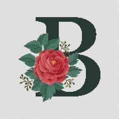 Letter B modern cross stitch pattern Floral monogram cross Monogram Cross Stitch, Cross Stitch Rose, Cross Stitch Alphabet, Cross Stitch Flowers, Cross Stitch Kits, Cross Stitch Charts, Rose Embroidery, Cross Stitch Embroidery, Embroidery Patterns