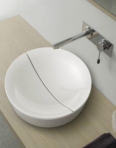 Countertop round ceramic washbasin MIZU by Scarabeo Ceramiche   #design Emo Design @scarabeoceramic